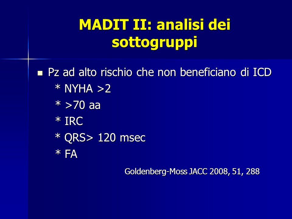 MADIT II: analisi dei sottogruppi Pz ad alto rischio che non beneficiano di ICD Pz ad alto rischio che non beneficiano di ICD * NYHA >2 * NYHA >2 * >70 aa * >70 aa * IRC * IRC * QRS> 120 msec * QRS> 120 msec * FA * FA Goldenberg-Moss JACC 2008, 51, 288