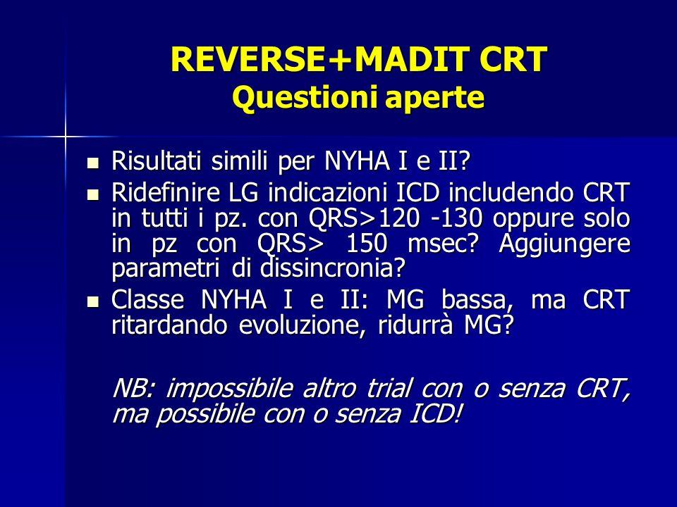REVERSE+MADIT CRT Questioni aperte Risultati simili per NYHA I e II.