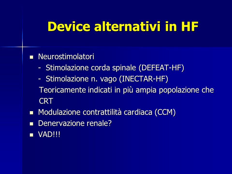 Device alternativi in HF Neurostimolatori Neurostimolatori - Stimolazione corda spinale (DEFEAT-HF) - Stimolazione n.