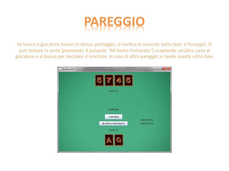 Se banco e giocatore hanno lo stesso punteggio, si verifica la seconda sotto-fase: il Pareggio.