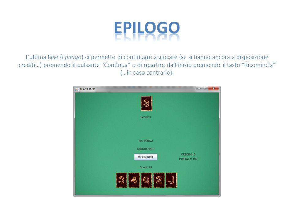 L'ultima fase (Epilogo) ci permette di continuare a giocare (se si hanno ancora a disposizione crediti…) premendo il pulsante Continua o di ripartire dall'inizio premendo il tasto Ricomincia (…in caso contrario).