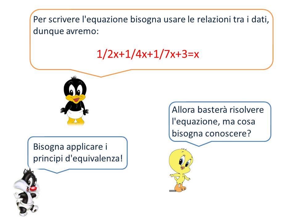 Per scrivere l'equazione bisogna usare le relazioni tra i dati, dunque avremo: 1/2x+1/4x+1/7x+3=x Allora basterà risolvere l'equazione, ma cosa bisogn