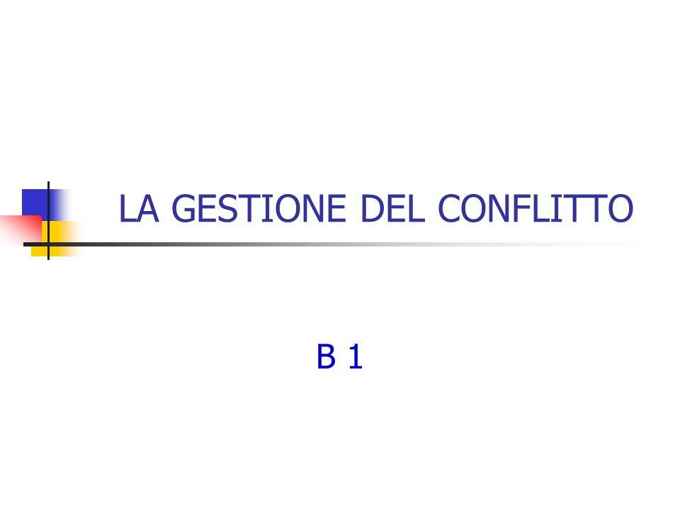 LA GESTIONE DEL CONFLITTO B 1