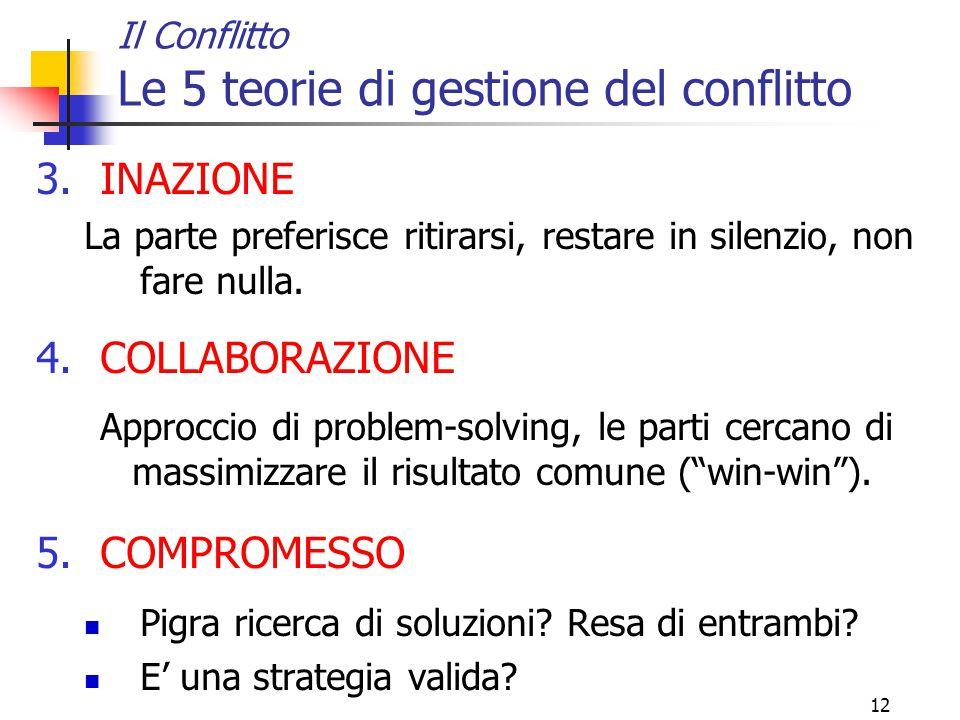 12 Il Conflitto Le 5 teorie di gestione del conflitto 3.INAZIONE La parte preferisce ritirarsi, restare in silenzio, non fare nulla. 4.COLLABORAZIONE