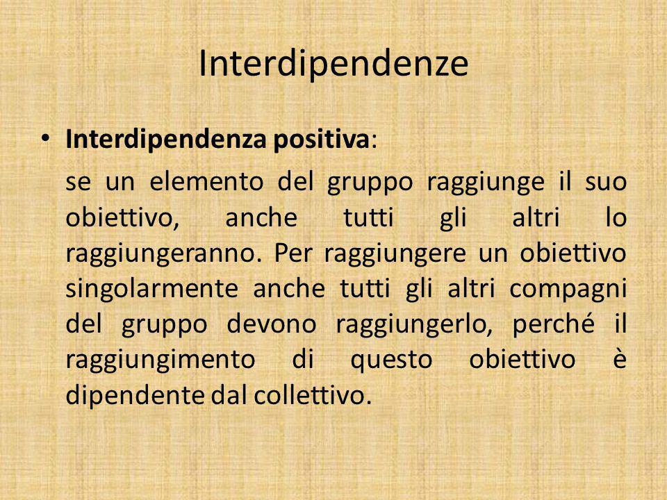 Interdipendenze Interdipendenza positiva: se un elemento del gruppo raggiunge il suo obiettivo, anche tutti gli altri lo raggiungeranno.