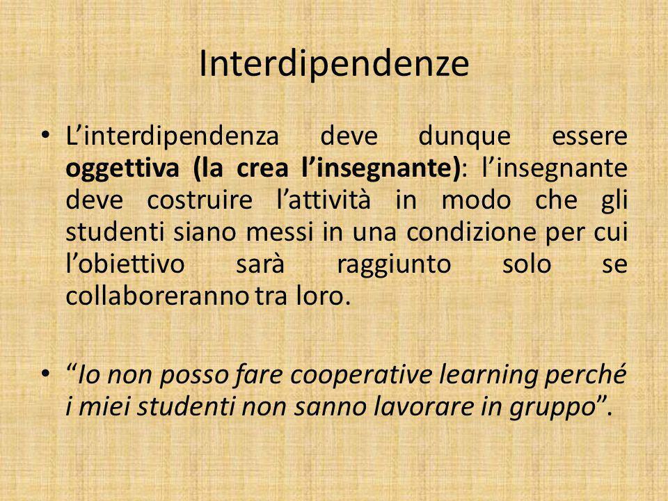 Interdipendenze L'interdipendenza deve dunque essere oggettiva (la crea l'insegnante): l'insegnante deve costruire l'attività in modo che gli studenti siano messi in una condizione per cui l'obiettivo sarà raggiunto solo se collaboreranno tra loro.