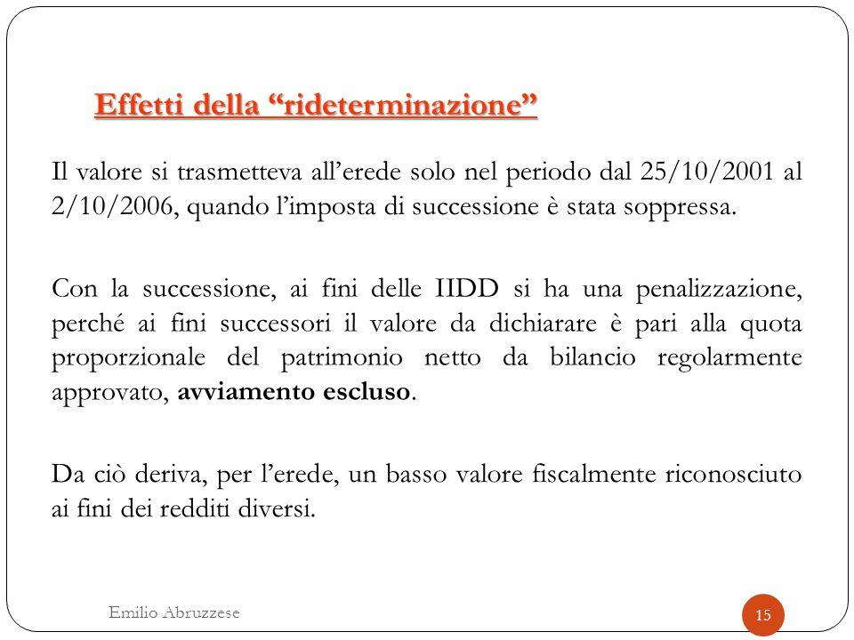 """Effetti della """"rideterminazione"""" Il valore si trasmetteva all'erede solo nel periodo dal 25/10/2001 al 2/10/2006, quando l'imposta di successione è st"""