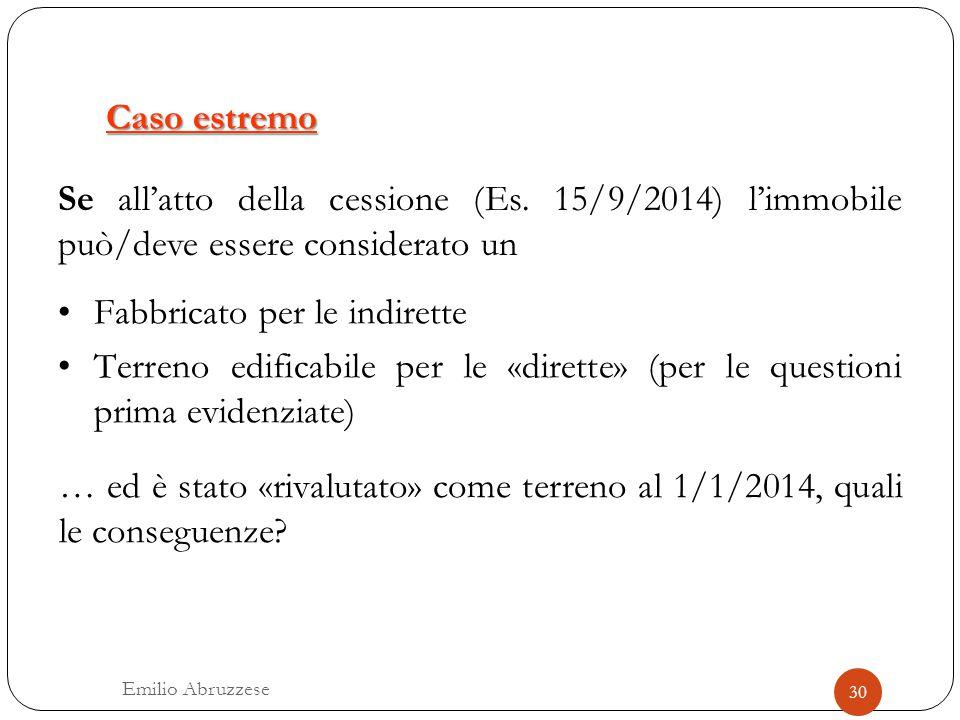 Caso estremo Se all'atto della cessione (Es. 15/9/2014) l'immobile può/deve essere considerato un Fabbricato per le indirette Terreno edificabile per