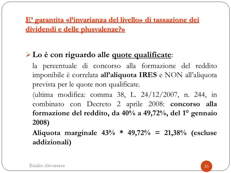 E' garantita «l'invarianza del livello» di tassazione dei dividendi e delle plusvalenze?» 35 Emilio Abruzzese  Lo è con riguardo alle quote qualifica