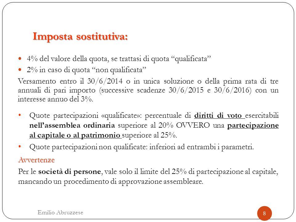 """Imposta sostitutiva: 4% del valore della quota, se trattasi di quota """"qualificata"""" 2% in caso di quota """"non qualificata"""" Versamento entro il 30/6/2014"""