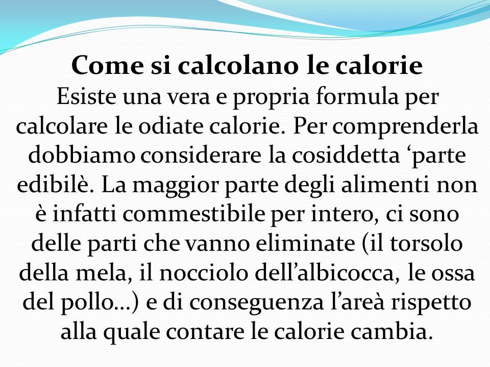 Nelle etichette sui pacchi dei biscotti, ad esempio: a 100 gr corrisponde un certo numero, ma è bene sapere quante calorie ci sono nel singolo biscotto.