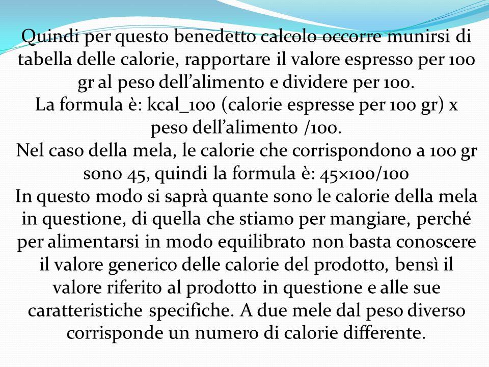 Se prendo ad esempio la mela e tolgo buccia e torsolo, è evidente che la parte edibile si riduce e che non ha senso calcolare le calorie sul peso intero della mela (es.