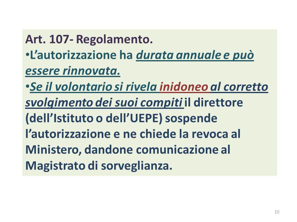Art. 107- Regolamento. L'autorizzazione ha durata annuale e può essere rinnovata. Se il volontario si rivela inidoneo al corretto svolgimento dei suoi