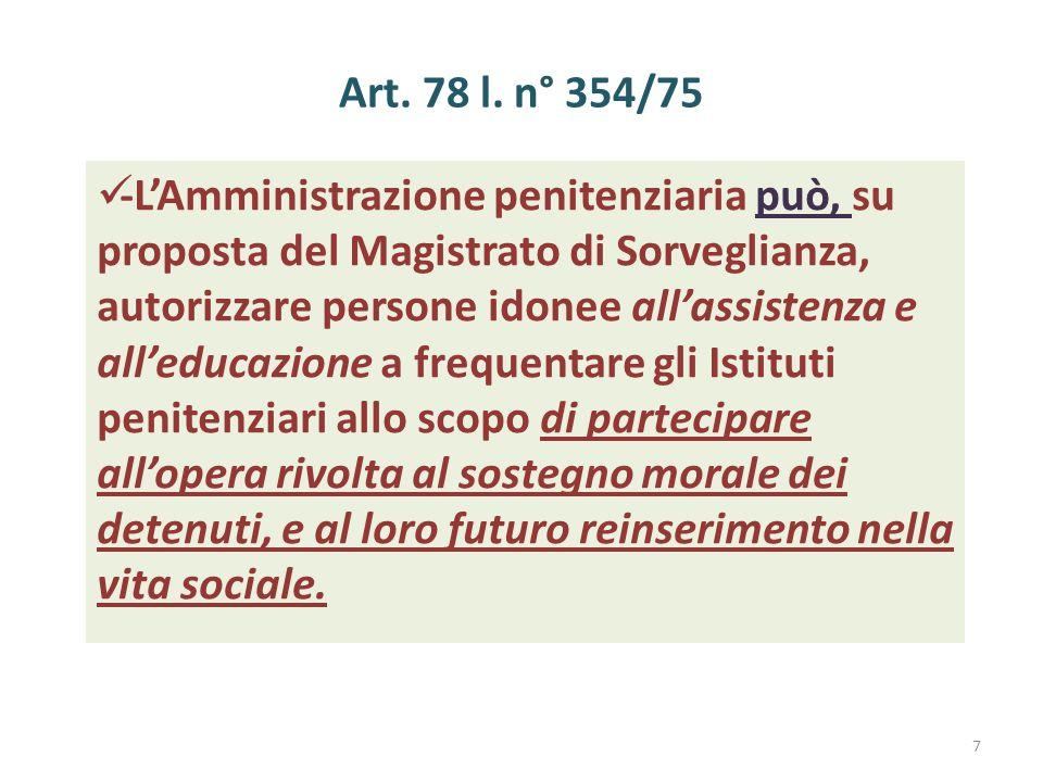 Art. 78 l. n° 354/75 -L'Amministrazione penitenziaria può, su proposta del Magistrato di Sorveglianza, autorizzare persone idonee all'assistenza e all