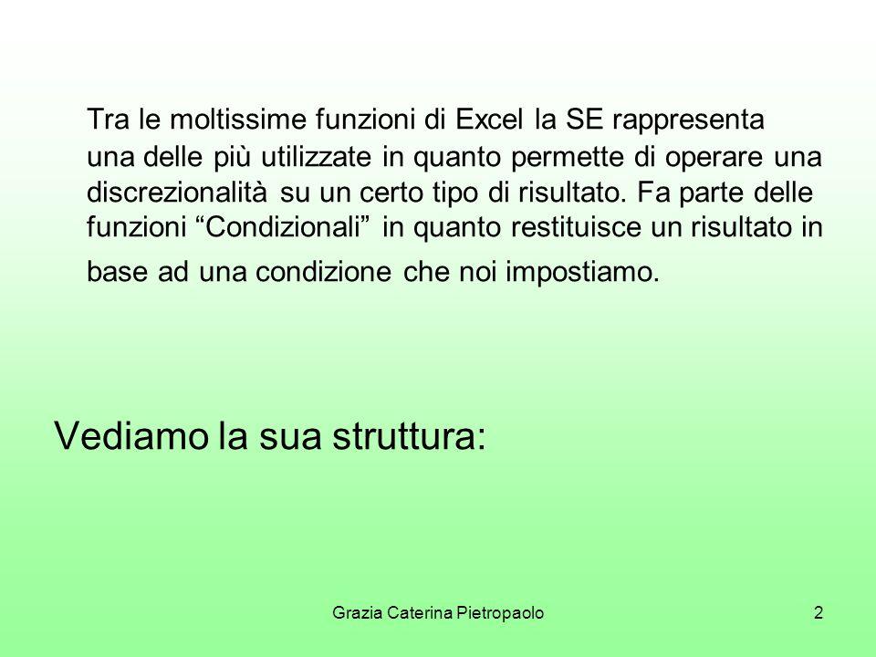 Grazia Caterina Pietropaolo2 Tra le moltissime funzioni di Excel la SE rappresenta una delle più utilizzate in quanto permette di operare una discrezionalità su un certo tipo di risultato.
