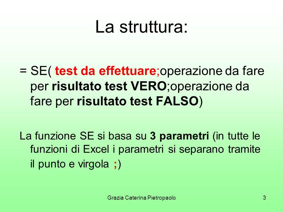 Grazia Caterina Pietropaolo3 La struttura: = SE( test da effettuare;operazione da fare per risultato test VERO;operazione da fare per risultato test FALSO) La funzione SE si basa su 3 parametri (in tutte le funzioni di Excel i parametri si separano tramite il punto e virgola ;)