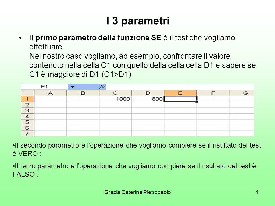 Grazia Caterina Pietropaolo4 I 3 parametri Il primo parametro della funzione SE è il test che vogliamo effettuare.