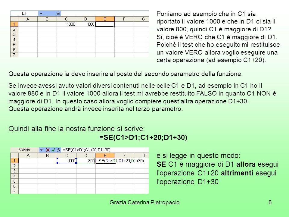 Grazia Caterina Pietropaolo5 Poniamo ad esempio che in C1 sia riportato il valore 1000 e che in D1 ci sia il valore 800, quindi C1 è maggiore di D1.