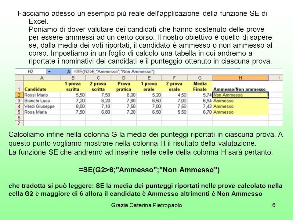 Grazia Caterina Pietropaolo6 Facciamo adesso un esempio più reale dell applicazione della funzione SE di Excel.