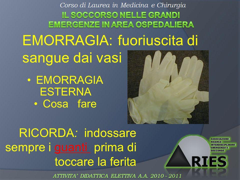 EMORRAGIA ESTERNA Cosa fare EMORRAGIA: fuoriuscita di sangue dai vasi RICORDA: indossare sempre i guanti prima di toccare la ferita