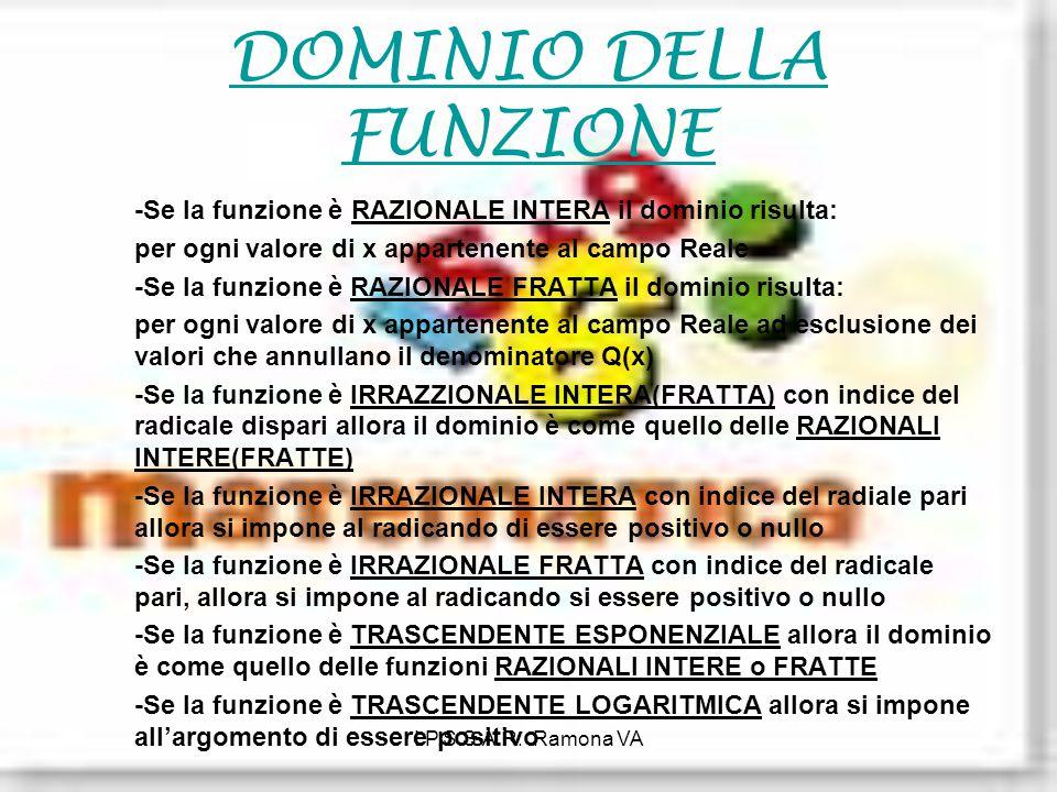 I.P.S.S.A.R. Ramona VA DOMINIO DELLA FUNZIONE -Se la funzione è RAZIONALE INTERA il dominio risulta: per ogni valore di x appartenente al campo Reale