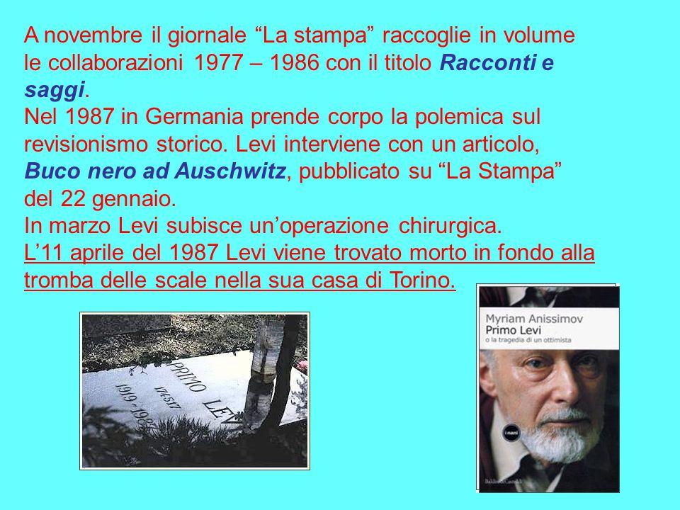 A novembre il giornale La stampa raccoglie in volume le collaborazioni 1977 – 1986 con il titolo Racconti e saggi.