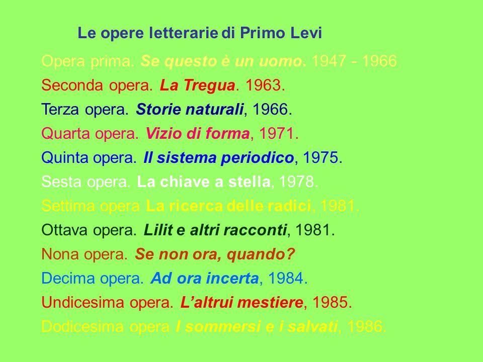 Le opere letterarie di Primo Levi Opera prima.Se questo è un uomo.