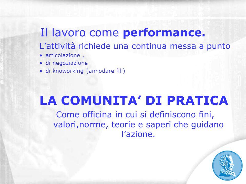 Il lavoro come performance. L'attività richiede una continua messa a punto articolazione, di negoziazione di knoworking (annodare fili) LA COMUNITA' D