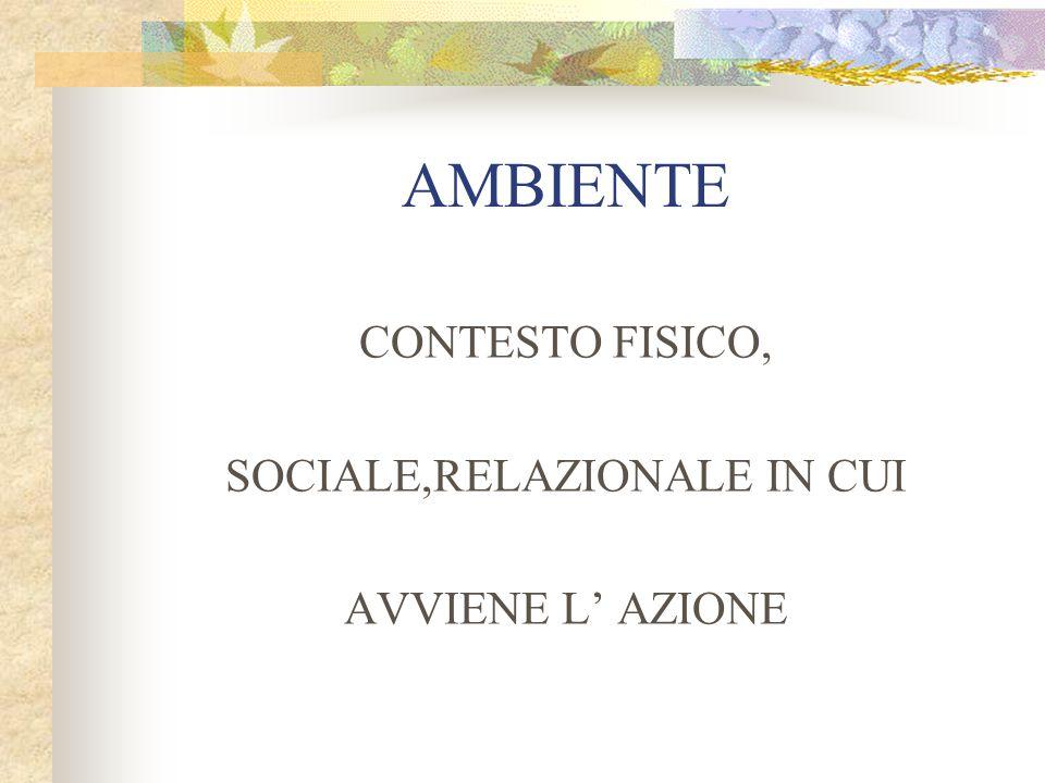 AMBIENTE CONTESTO FISICO, SOCIALE,RELAZIONALE IN CUI AVVIENE L' AZIONE