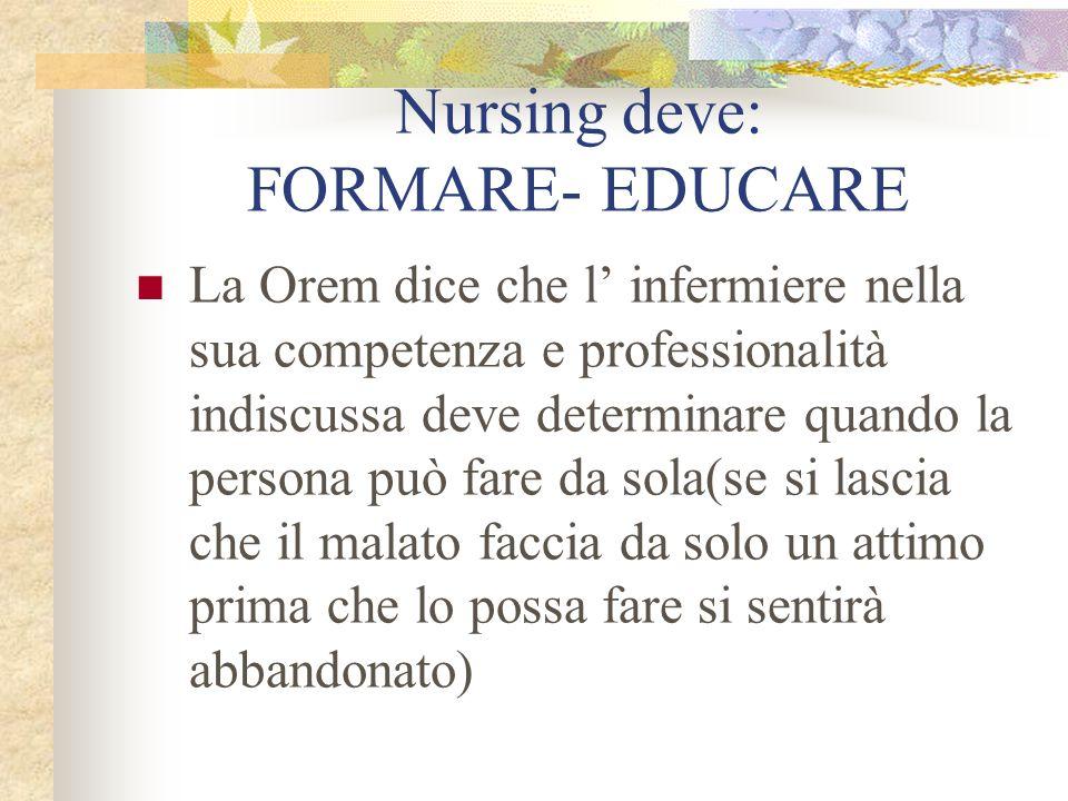 Nursing deve: FORMARE- EDUCARE La Orem dice che l' infermiere nella sua competenza e professionalità indiscussa deve determinare quando la persona può