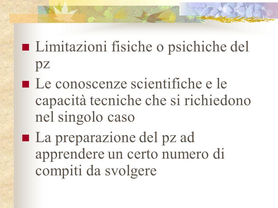Limitazioni fisiche o psichiche del pz Le conoscenze scientifiche e le capacità tecniche che si richiedono nel singolo caso La preparazione del pz ad