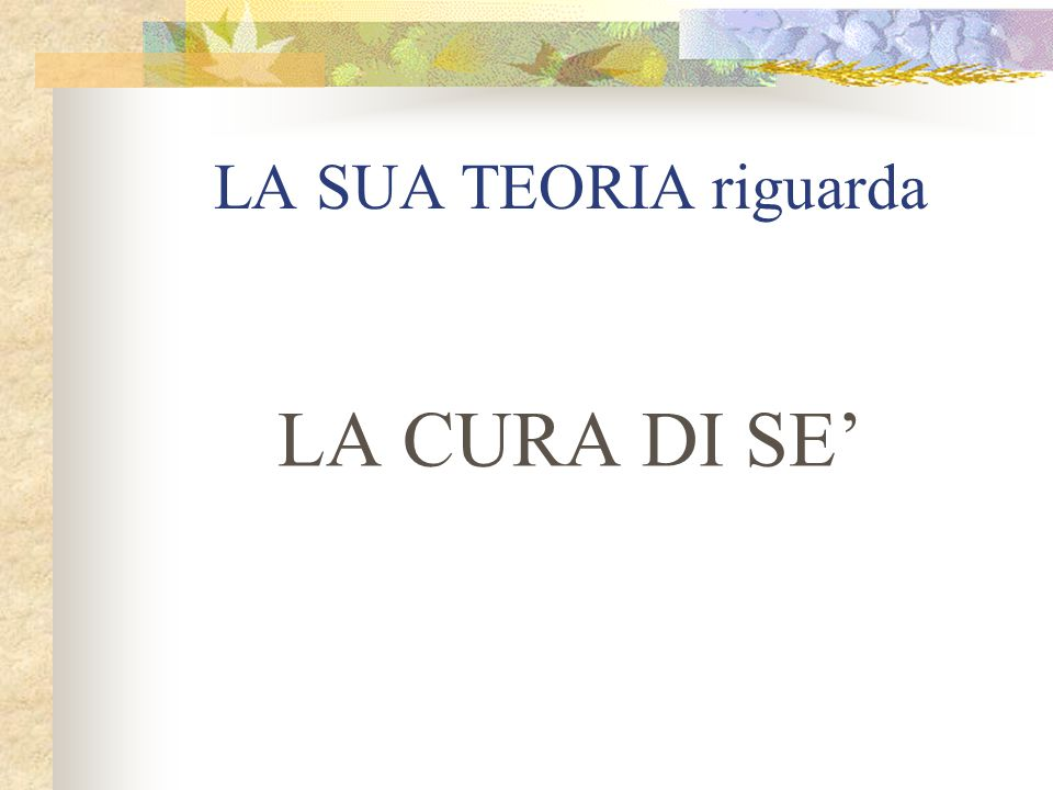 LA SUA TEORIA riguarda LA CURA DI SE'