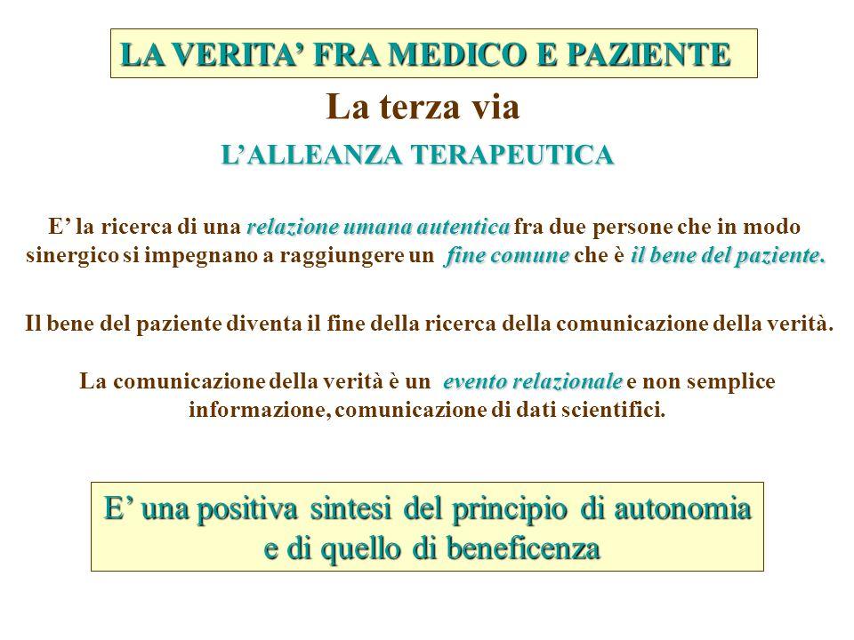 relazione umana autentica fine comune il bene del paziente.