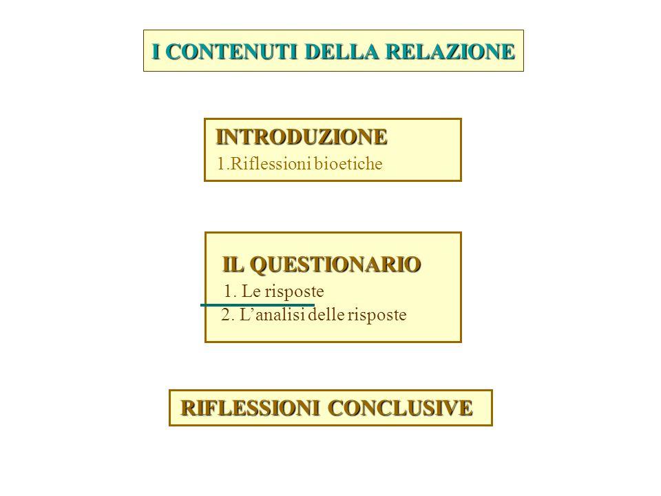I CONTENUTI DELLA RELAZIONE RIFLESSIONI CONCLUSIVE RIFLESSIONI CONCLUSIVE IL QUESTIONARIO IL QUESTIONARIO 1.