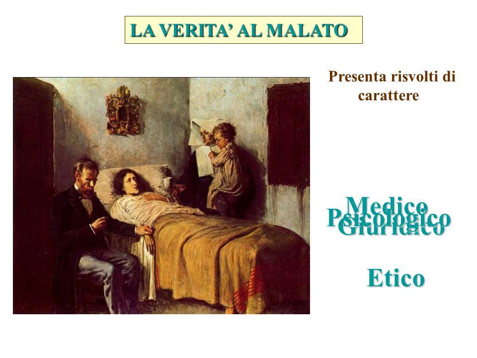 LA VERITA' AL MALATO Presenta risvolti di carattere Medico Giuridico Psicologico Etico