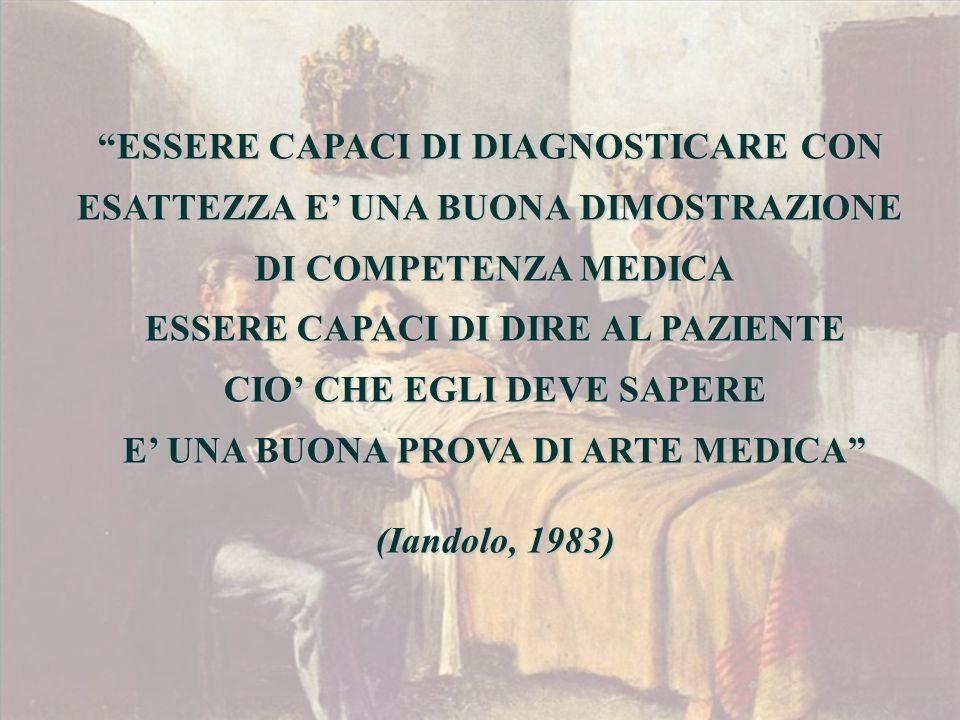 ESSERE CAPACI DI DIAGNOSTICARE CON ESATTEZZA E' UNA BUONA DIMOSTRAZIONE DI COMPETENZA MEDICA ESSERE CAPACI DI DIRE AL PAZIENTE CIO' CHE EGLI DEVE SAPERE E' UNA BUONA PROVA DI ARTE MEDICA (Iandolo, 1983)