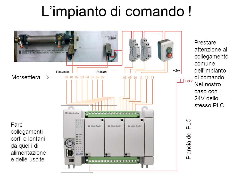 L'impianto di comando ! Plancia del PLC Morsettiera  Prestare attenzione al collegamento comune dell'impianto di comando. Nel nostro caso con i 24V d