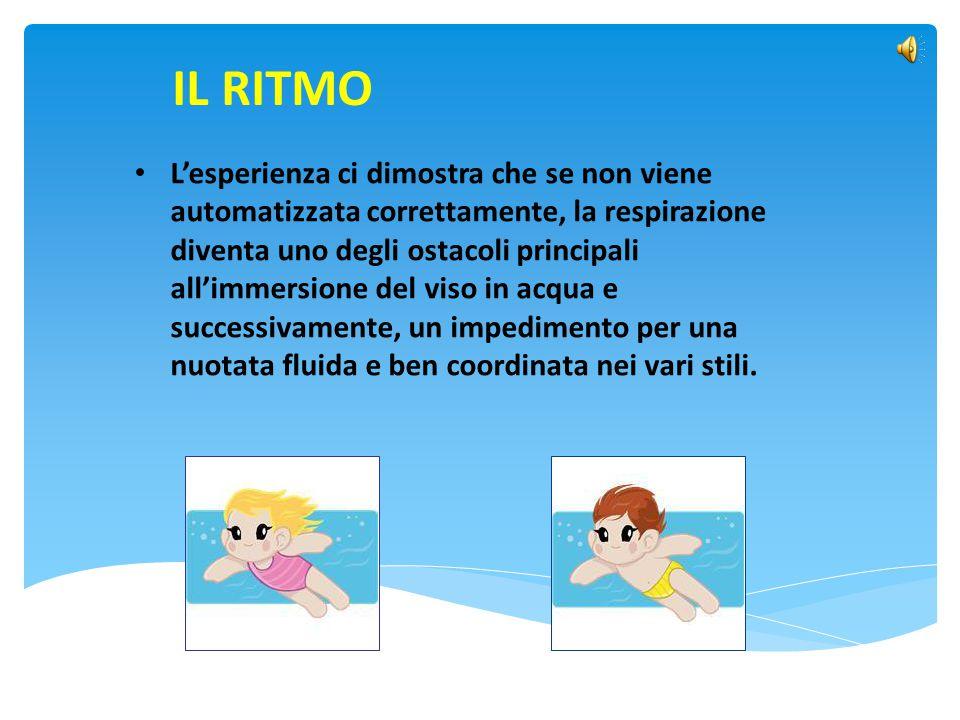 IL RITMO L'esperienza ci dimostra che se non viene automatizzata correttamente, la respirazione diventa uno degli ostacoli principali all'immersione d