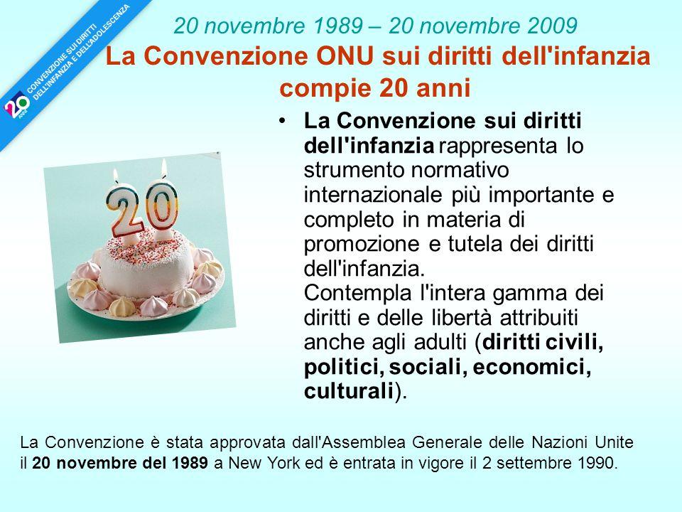 20 novembre 1989 – 20 novembre 2009 La Convenzione ONU sui diritti dell'infanzia compie 20 anni La Convenzione sui diritti dell'infanzia rappresenta l