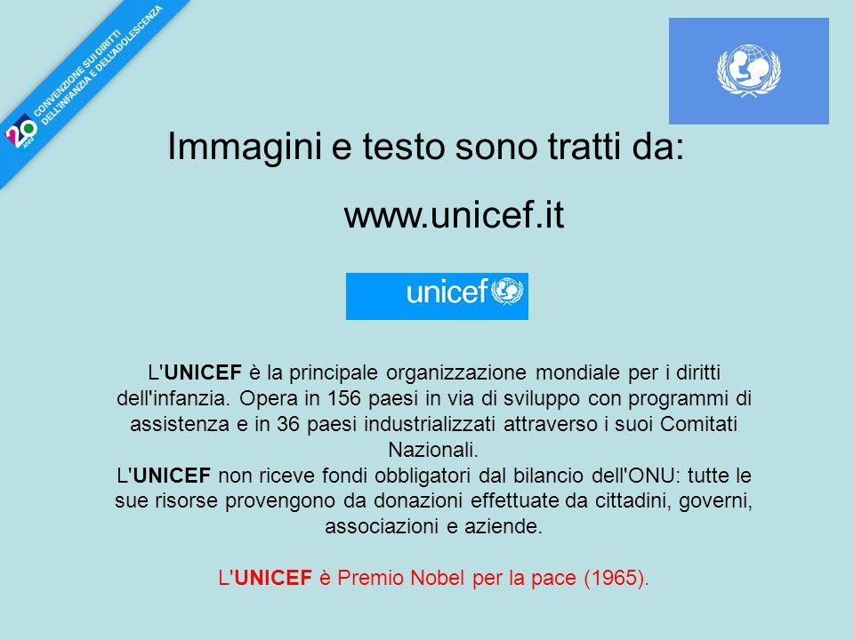 Immagini e testo sono tratti da: www.unicef.it L'UNICEF è la principale organizzazione mondiale per i diritti dell'infanzia. Opera in 156 paesi in via