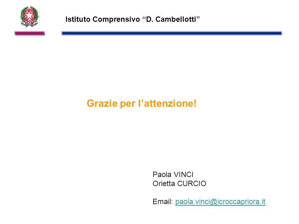 Istituto Comprensivo D. Cambellotti Grazie per l'attenzione.