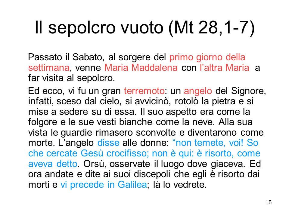 15 Il sepolcro vuoto (Mt 28,1-7) Passato il Sabato, al sorgere del primo giorno della settimana, venne Maria Maddalena con l'altra Maria a far visita
