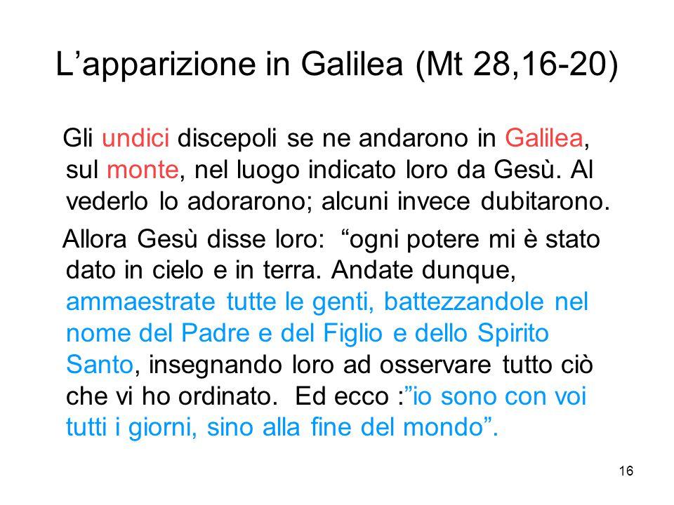 16 L'apparizione in Galilea (Mt 28,16-20) Gli undici discepoli se ne andarono in Galilea, sul monte, nel luogo indicato loro da Gesù. Al vederlo lo ad