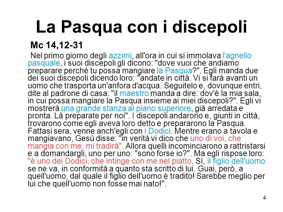 4 La Pasqua con i discepoli Mc 14,12-31 Nel primo giorno degli azzimi, all'ora in cui si immolava l'agnello pasquale, i suoi discepoli gli dicono: