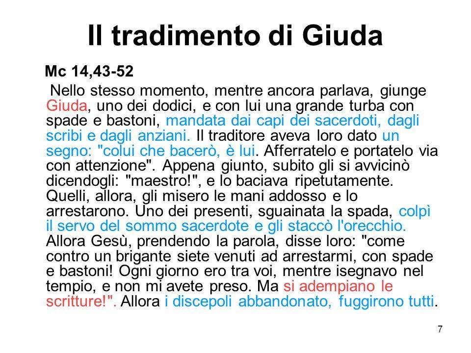 7 Il tradimento di Giuda Mc 14,43-52 Nello stesso momento, mentre ancora parlava, giunge Giuda, uno dei dodici, e con lui una grande turba con spade e