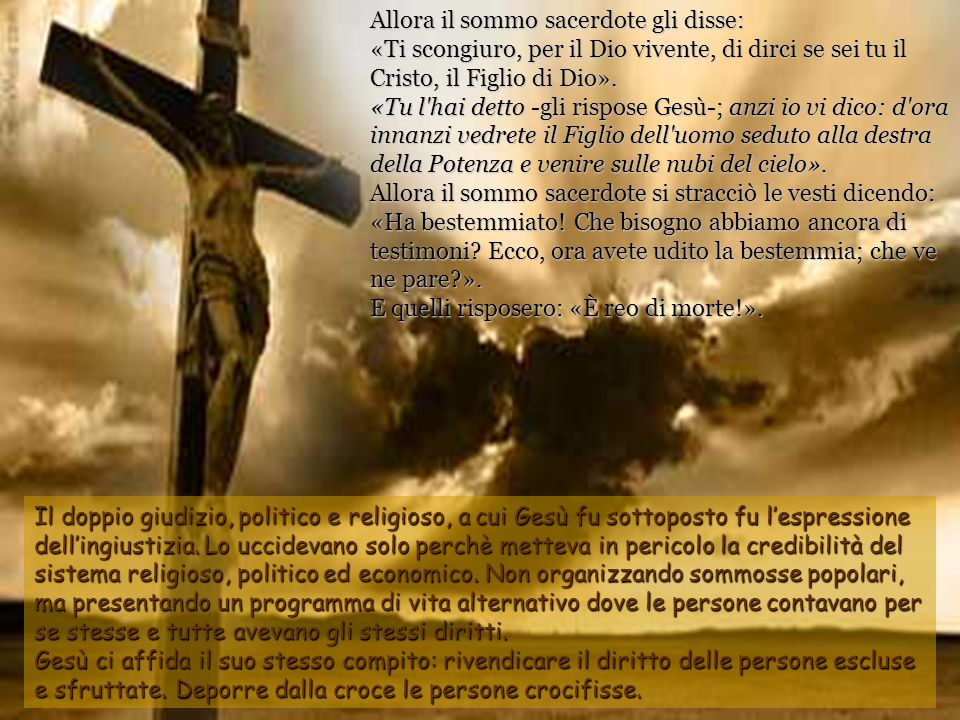 Quelli che avevano arrestato Gesù lo condussero dal sommo sacerdote Caifa, presso il quale si erano riuniti gli scribi e gli anziani. Pietro intanto l