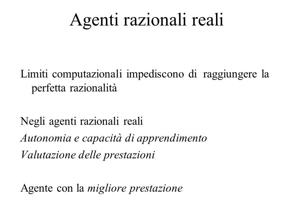 Agenti razionali reali Limiti computazionali impediscono di raggiungere la perfetta razionalità Negli agenti razionali reali Autonomia e capacità di a