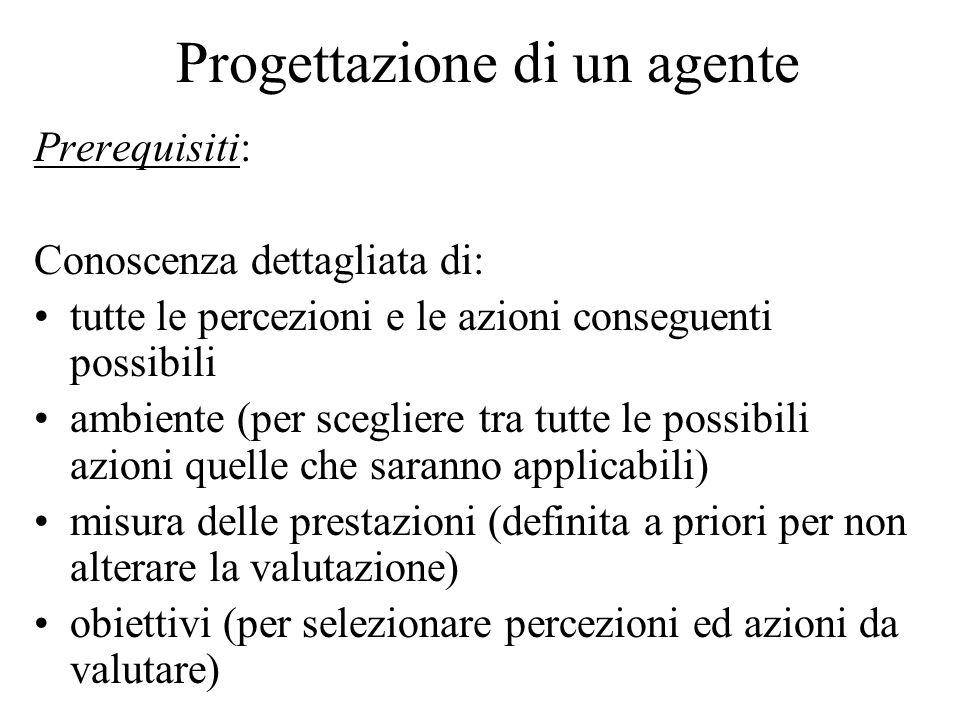 Progettazione di un agente Prerequisiti: Conoscenza dettagliata di: tutte le percezioni e le azioni conseguenti possibili ambiente (per scegliere tra