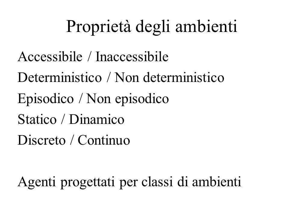 Proprietà degli ambienti Accessibile / Inaccessibile Deterministico / Non deterministico Episodico / Non episodico Statico / Dinamico Discreto / Continuo Agenti progettati per classi di ambienti