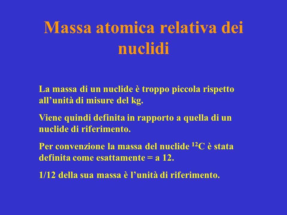 Massa atomica relativa dei nuclidi La massa di un nuclide è troppo piccola rispetto all'unità di misure del kg. Viene quindi definita in rapporto a qu